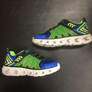 Boys Skechers Light Up Sneaker Blue Green sz 13.5